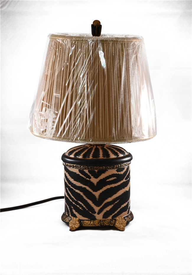 Small zebra print lamp